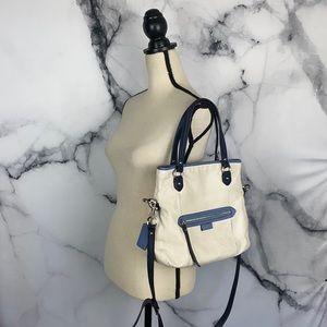 COACH cream leather tote satchel crossbody bag